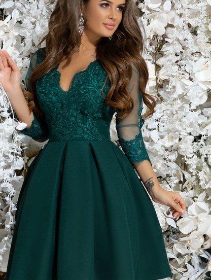 Зеленое коктейльное платье с кружевом, фото 1