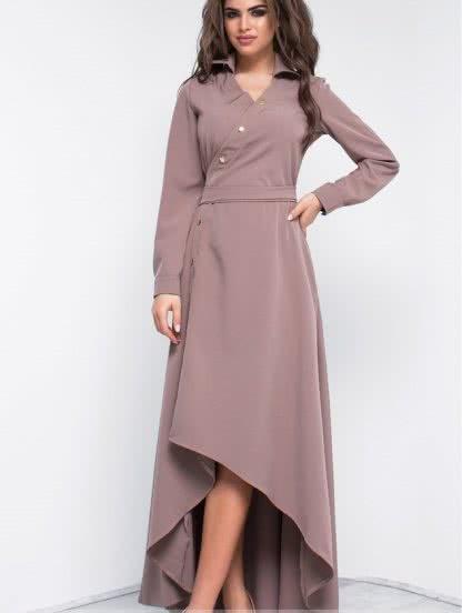 Осеннее платье с удлиненной спинкой, фото 1
