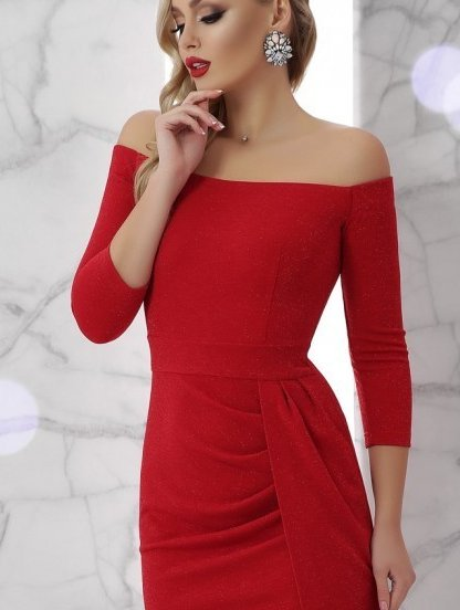 Нарядное люрексовое платье с открытыми плечами, фото 1