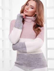 Шерстяной вязаный свитер под горло