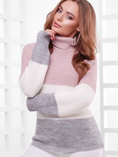 Шерстяной вязаный свитер под горло, фото 1