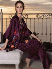 Кимоно с поясом в цветочный принт из натурального шёлка