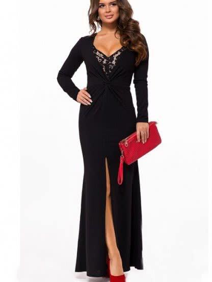 Черное длинное платье с разрезом и кружевом, фото 1