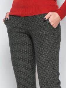 """Шерстяные теплые брюки с узором """"ёлочка"""""""