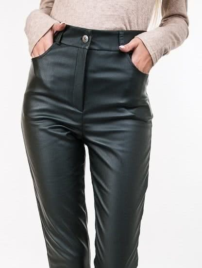 Зеленые кожаные брюки с высокой талией, фото 1