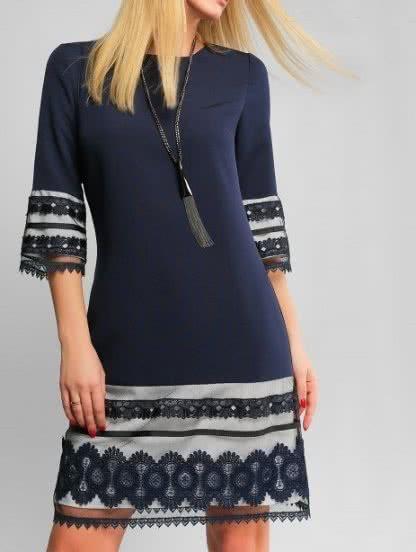 Синее нарядное платье А силуета, фото 1