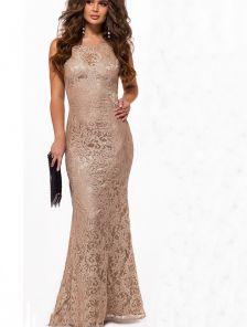 Блестящее длинное кружевное платье футляр