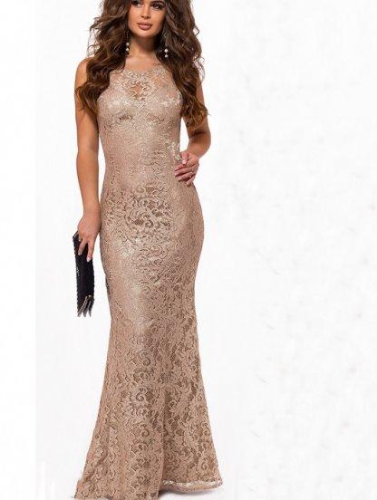 Блестящее длинное кружевное платье футляр, фото 1