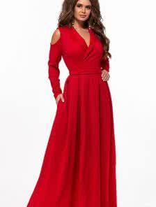 Красное длинное платье на запах на длинный рукав