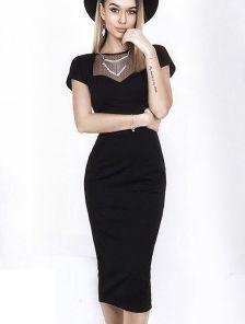 Черное сексуальное приталеное платье с сеткой