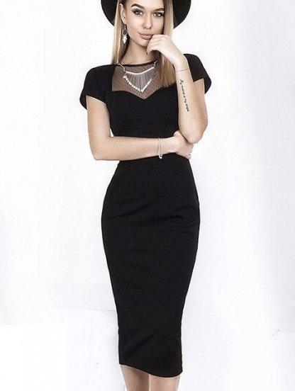 Черное приталеное платье с вставкой из сетки на груди, фото 1