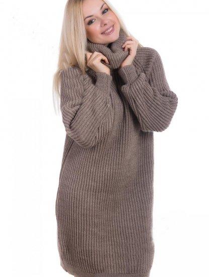 Теплое вязаное платье с широкой горловиной, фото 1