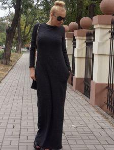 Черное теплое ангоровое платье в пол
