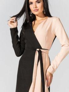 Сдержаное платье с длинным рукавом и V-ообразным вырезом