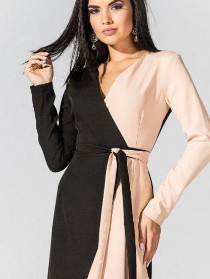 Сдержаное платье с длинным рукавом и V-ообразным вырезом, фото 1