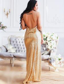Вечернее платье с открытой спиной вышитое пайетками