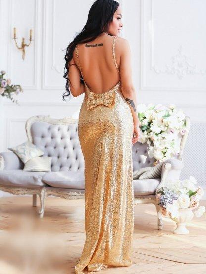 Вечернее платье золотого цвета с открытой спиной, фото 1