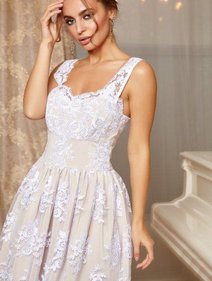 Кружевное коктейльное платье на тонких бретелях и пышной юбкой, фото 1