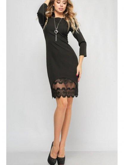 Черное платье приталенного силуэта с вставками из кружева, фото 1