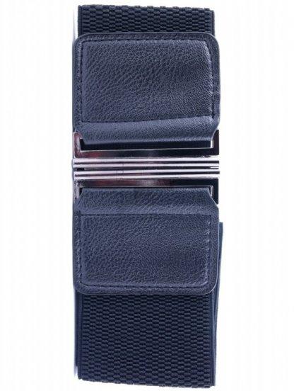 Широкий ремень-резинка черного цвета с вставками с эко-кожи, фото 1