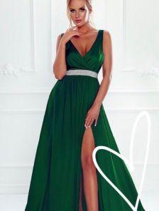 Вечернее шёлковое платье зеленого цвета под пояс