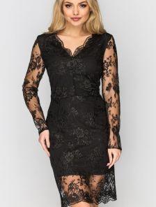 Черное гипюровое платье по фигуре с длинным рукавом