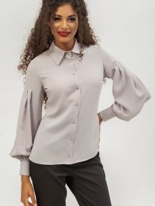 Блуза серого цвета с отложным воратником и рукавами-фонариками