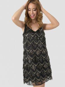 Платье-трапеция черного цвета вышитое пайетками на тонких бретелях