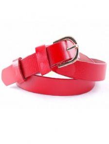 Красный кожаный женский ремень в узор шириной 2 см