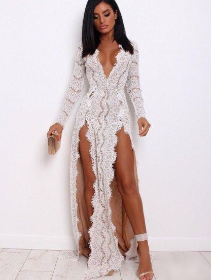 Вечернее платье с глубоким вырезом в белом цвете на подкладке, фото 1