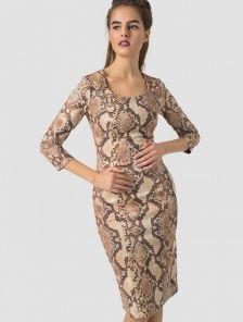 Замшевое платье-футляр миди длинны с принтом