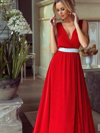 Вечернее шёлковое платье красного цвета под пояс, фото 1
