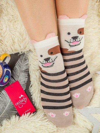 Длинные теплые носочки с рисунком собачки, фото 1