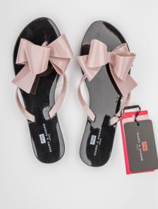 Летние силиконовые шлепанцы с бантом в чорно-розовом цвете Marc & Andre