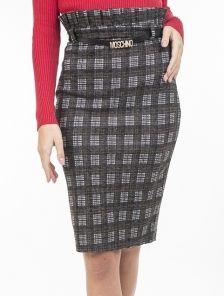 Теплая юбка-карандаш с высокой талией и декоративным поясом