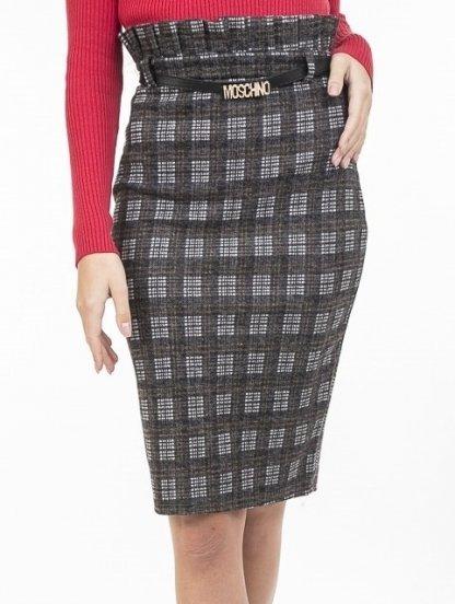 Теплая юбка-карандаш с высокой талией и декоративным поясом, фото 1
