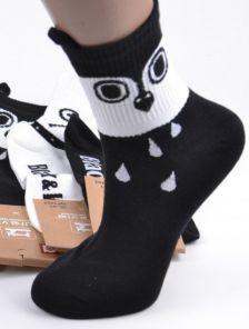 Длинные черные носочки с рисунком и ушками