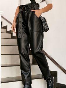 Стильные штаны из эко-кожи с зашенной талией