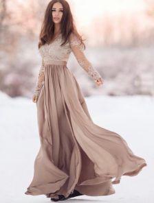 Длинное кружевное праздничное платье