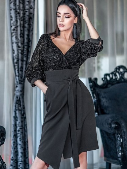 Платье-костюм в черного цвете с рукавом 3\4 с имитацией запаха, фото 1