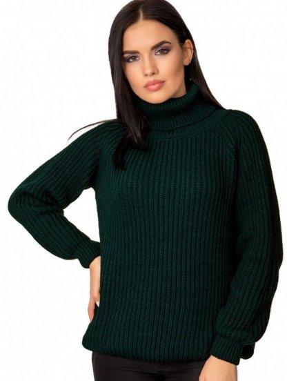 Теплый вязаный свитер темно-зеленого цвета универсального размера, фото 1