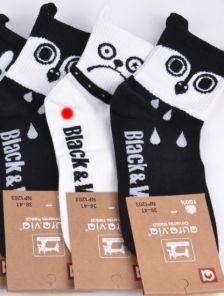 Длинные носочки в чорно-белом цвете с принтом собачка-мопс