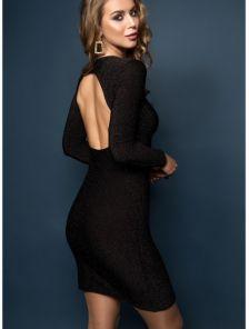 Силуэтное платье в черном цвете с люрексом с открытой спиной