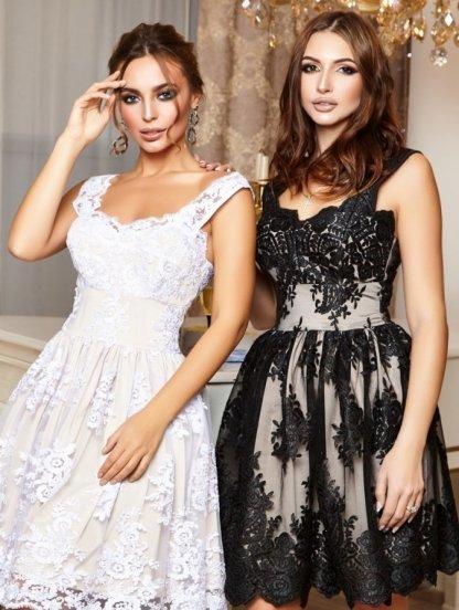 Кружевное коктейльное платье в черном цвете на тонких бретелях и пышной юбкой, фото 1