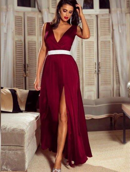 Вечернее шёлковое платье цвета марсала под пояс, фото 1