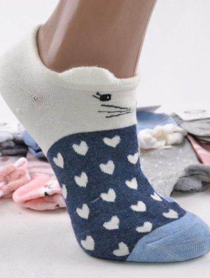 Носочки с зверьком в синем-белом цвете с ушками, фото 1