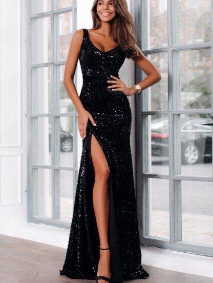 Вечернее длинное платье черного цвета в пайетку с глубоким декольте и разрезом на ножке, фото 1