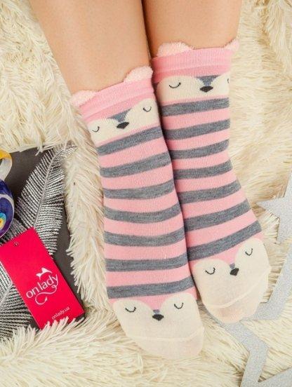 Длинные теплые носочки в розово-серую полосочку, фото 1