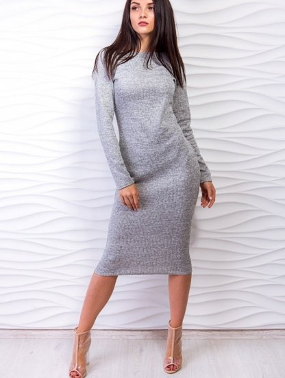 Серое облегающее платье с рукавом, фото 1