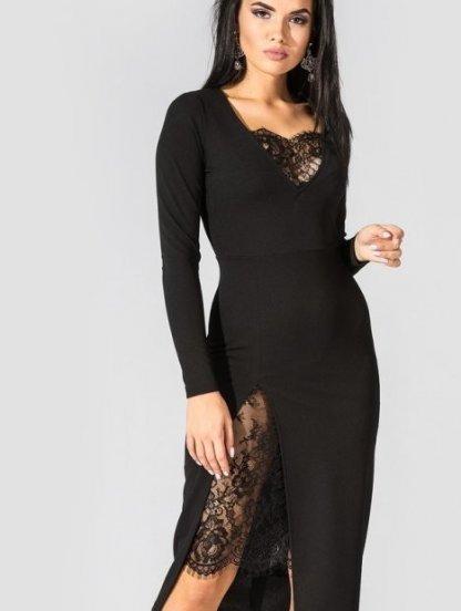 Черное облегающее платье с кружевными вставками, фото 1